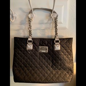 JM New York Quilted tote Champagne and Black